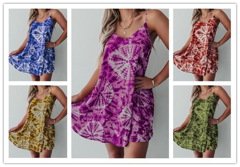 2020 femmes Tie-Dye Imprimé Robes ronde manches cou mi-longues Robe de plage Trendy Féministe taille Slip robe Vêtements S-3XL LY609