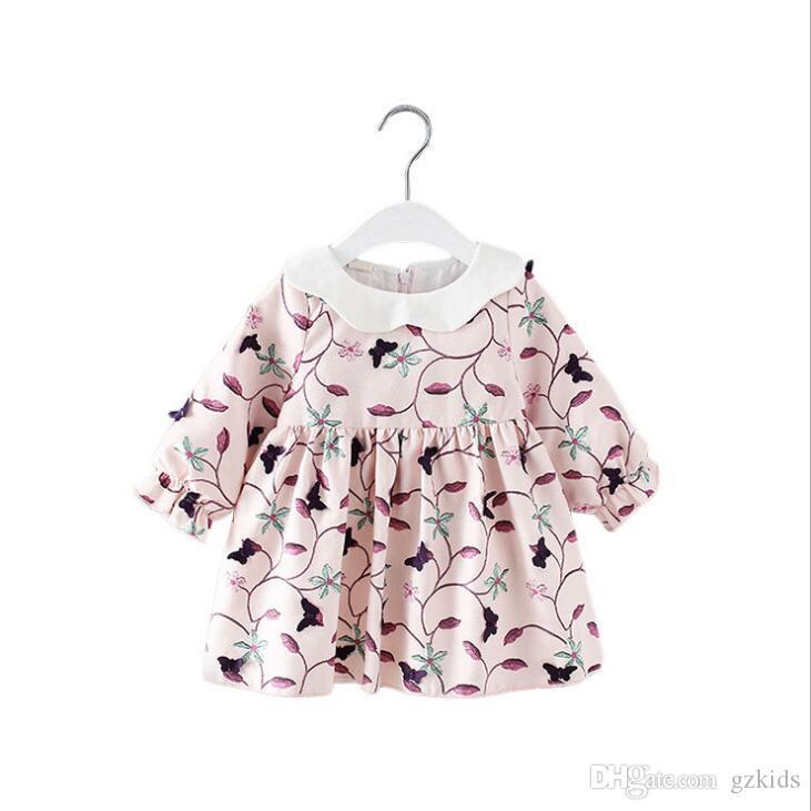 Girls Dress 2019 New Girls'Dresses in Spring Lovely Petal Collar Children's Long Sleeve Dresses FREE SHIPPING