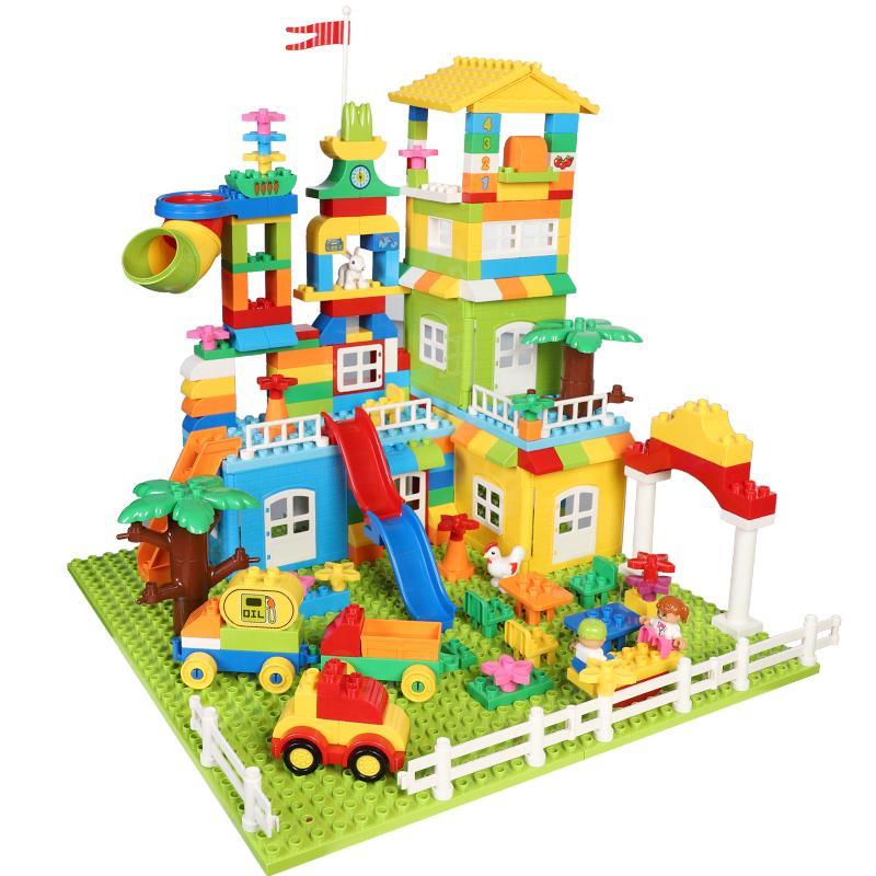 Maze Marble Run Rennen Baustein-Satz-unterstützte Legoed Duploed Construction Big Spur Bricks Kugelschlitten Spielzeug für Kinder