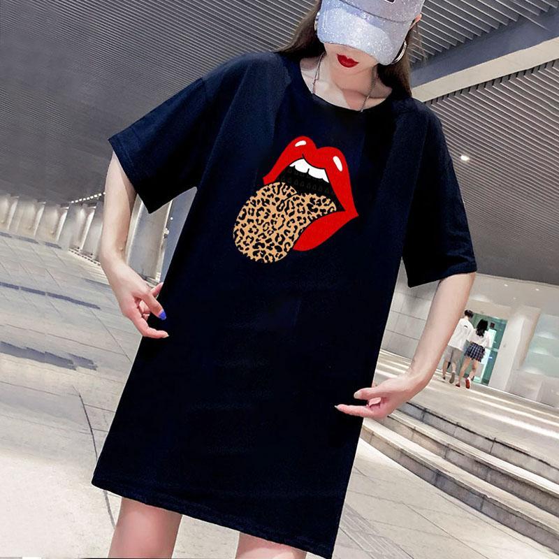 Baskılı Yeni Günlük Streetwear Elbiseler Tees Giyim Boyut M-4XL D001A613 ile Tasarımcı Kadınlar Elbiseler Moda Yaz Kadın Tişörtlü Elbise