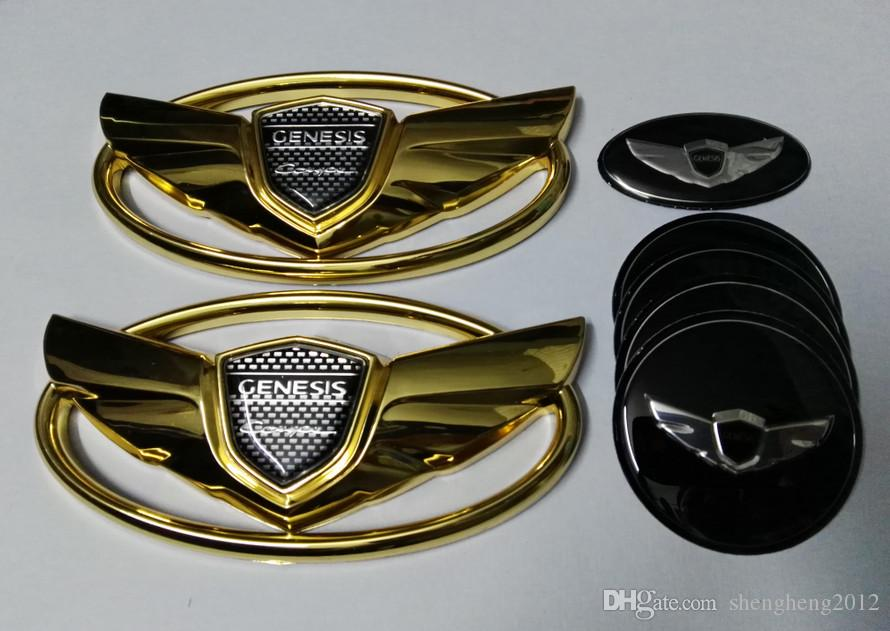 Genesis Steering Wheel Badge for Hyundai Rear 7pcs New 3D Chrome Genesis Coupe Badge Emblems Kit Sticker Front Wheel Cap Stickers