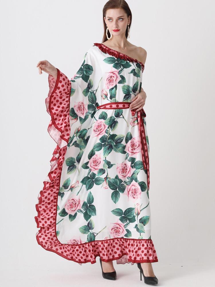 Сексуальная Леди одно плечо богемские платья красоты Печать и Щитовые длинное платье Шелк Полиэстер Шифон Blending 2020