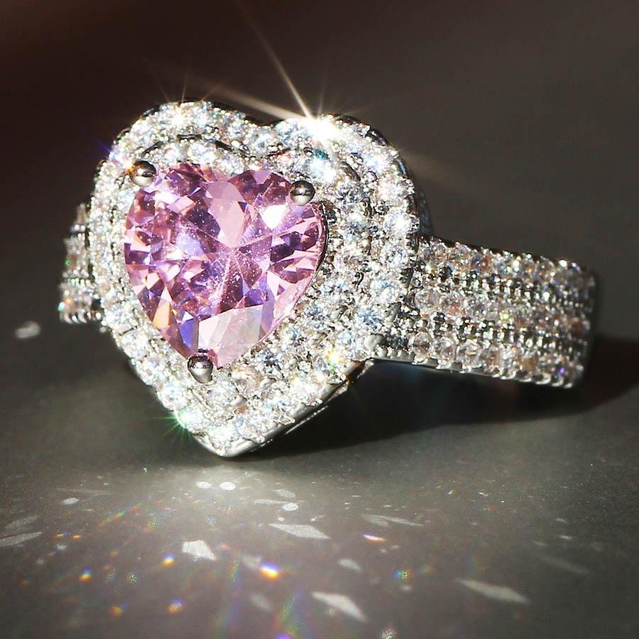 2020 New Womens anelli di nozze moda argento / rosa cuore gemma di fidanzamento anelli gioielli simulato anello diamante simulato per matrimonio