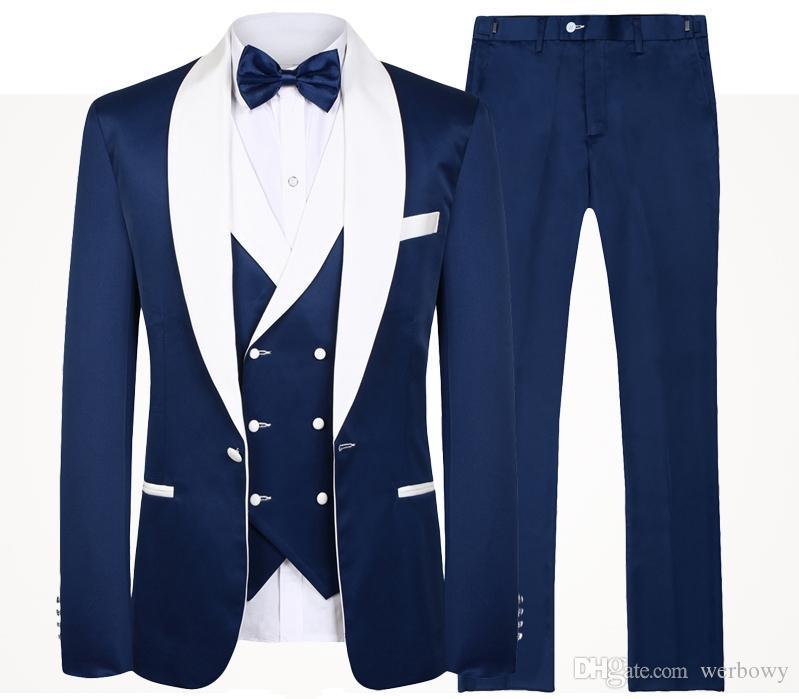 2020 Bleu Hommes Costumes de mariage Marque Stylisme réel Groomsmen blanc Shawl Lapel smokings marié Hommes Tuxedo mariage / costumes de bal 3 Pièces