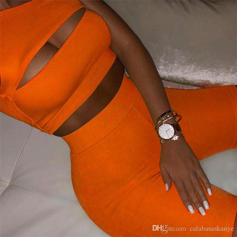 Женская Дизайнерская костюмы Solid Color выдалбливают женские одно плечо костюмы Sexy Ladies 2PCS спортивные костюмы