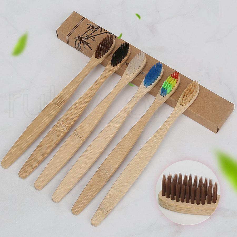 Doğal Bambu Saplı Diş Fırçası Gökkuşağı Renkli Yumuşak kıllar Bambu Diş Fırçası 8 renkler Kağıt Kutu Ambalaj Araçları RRA1283