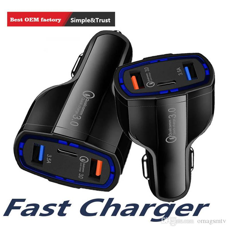 Best Sale Quick charge 3.0 Car charger 5V 3.5A QC3.0 PD usb type c fast charging Dual car mobile phone charger for iPhone 7 samsung xiaomi