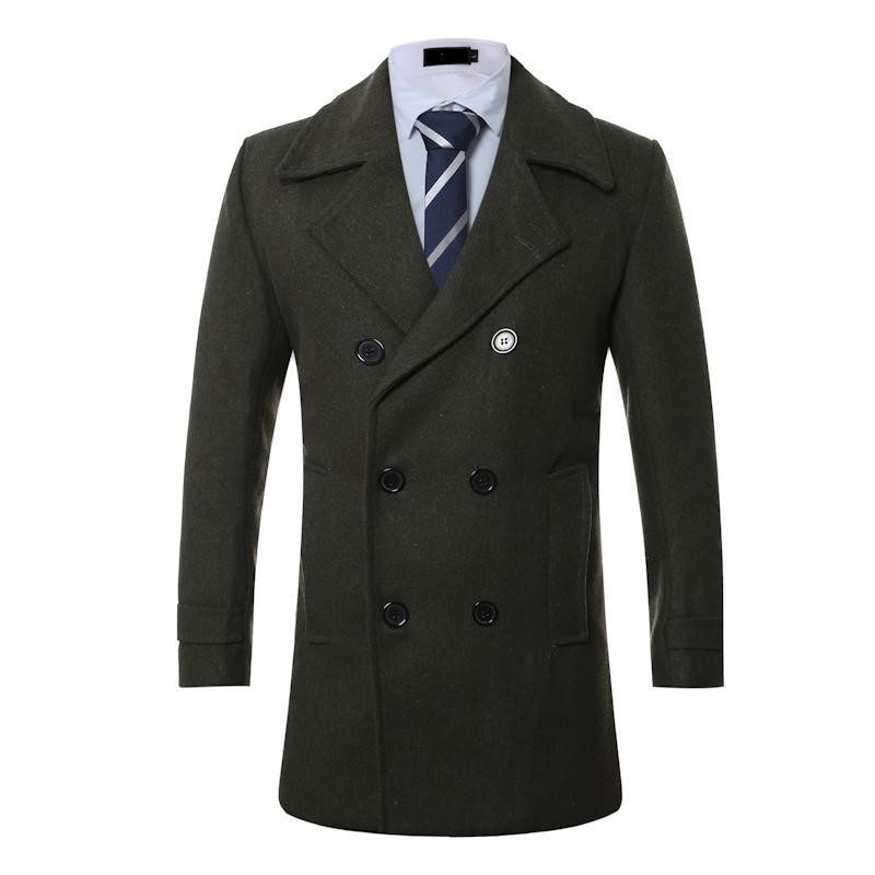 Hommes Veste Hommes Manteaux d'hiver réfléchissant coupe-vent Automne hommes et hiver Nouveau mi-long manteau de laine Manteau surdimensionné jeunesse