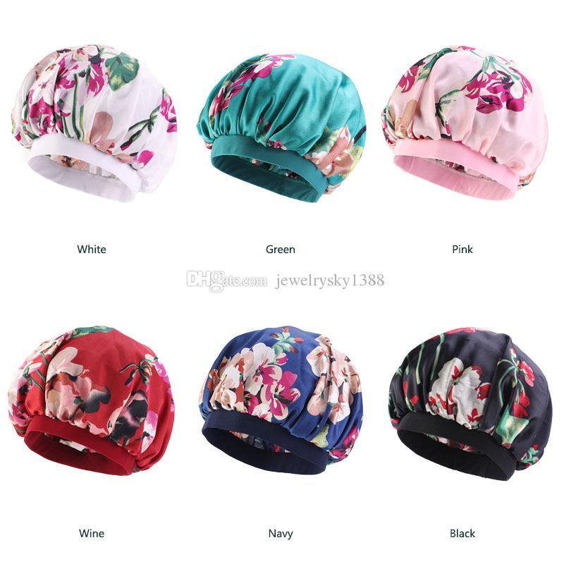 Colorful Women Print Silky DU-RAG Hair Cover Accessories Wave Caps Rags Wide Band Bonnet Salon Hat Turban Durag doo rag Headwrap