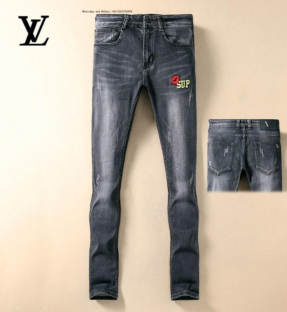 High Street Fashion Pants Blue Pin Slim pequeño elástico recto vaquero pantalones hombre