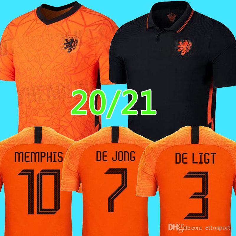 2020 2021 هولندا لكرة القدم بالقميص DE JONG WIJNALDUM هولندا مجموعات كرة القدم قميص فيرجيل 20 21 جيرسي مجموعات STROOTMAN ممفيس للرجال + الاطفال