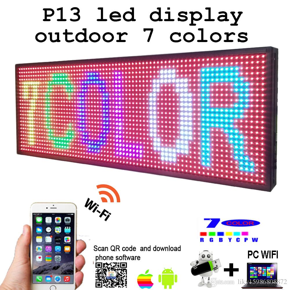 "LED Programmable Electronic P13 RGB COLOR OUTDOOR Sign LED Display 39"" X 14"" USB + Phone WIFI Control Open Running Message Board"