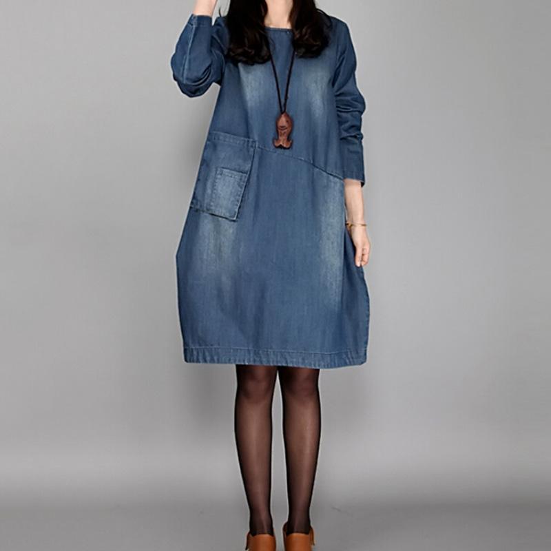 Pocketes vestidos ile Bahar Artı boyutu Kadınlar Kot Elbise Moda Sonbahar Sloid Gevşek Vintage Uzun Kollu Kot kadın elbiseleri