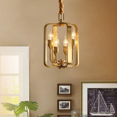 vela luxo lâmpada home lâmpada retro cobre americano lâmpada de cobre cheio estudo oco sala lustre da sala de jantar cobre