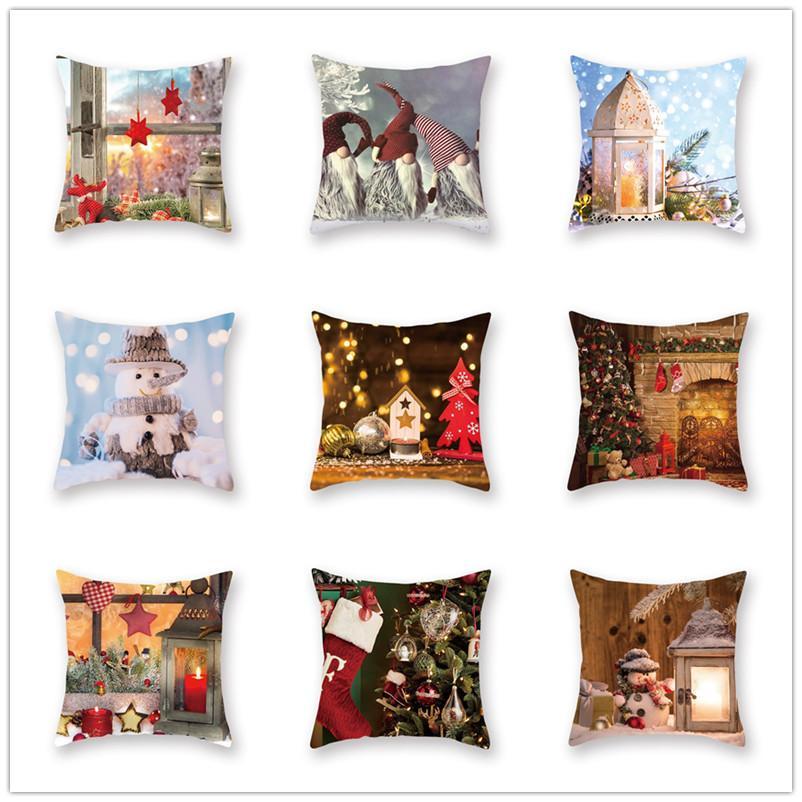 45 * 45CM وسادة القضية غطاء عيد الميلاد الشريط يغطي وسادة جديد منقوش الكتان أريكة وسادة القضية غطاء وسادة هدية عيد الميلاد ديكور المنزل