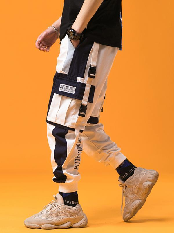 patchwork pantaloni della tuta neri degli uomini per indumenti da lavoro del 2019 Streetwear Giapponese maschile Harajuku pantaloni della tuta pantaloni da jogging moda