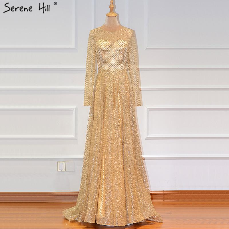 Gold Muslim Long Sleeves A-Line Evening Dresses 2019 O-Neck Luxury Glitte Formal Evening Gowns Real Photo LA60942