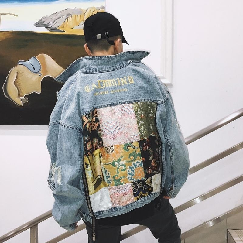 Japanese Style Embroidered Double Zipper Jeans Jacket Men Hip Hop Jacket Streetwear Hip Hop Baseball Jacket Us Size S-xl