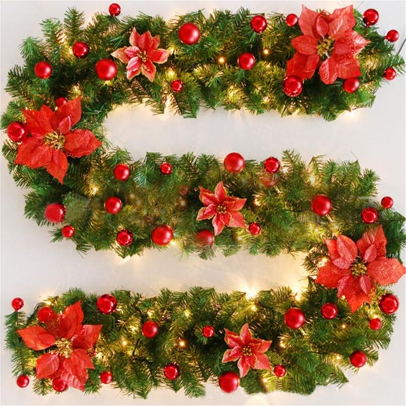 270cm Weihnachtsgirlande grün Weihnachten Rattan mit Bögen LED-Lichtern Weihnachtsdekoration liefert neues Jahr Natal Ornament für Zuhause