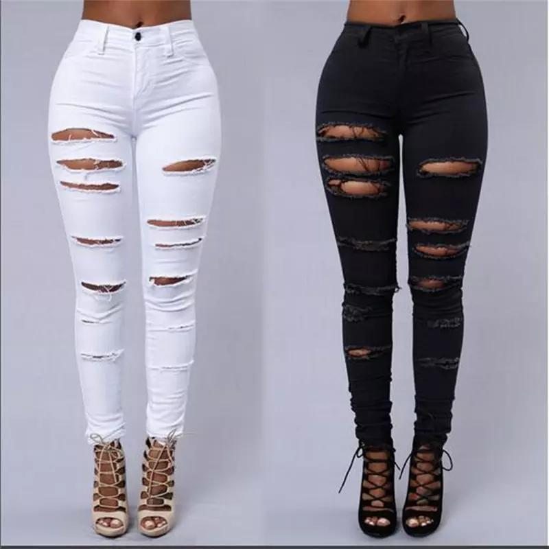 All'ingrosso-Donne jeans strappati a vita alta Strappato femminile club denim pantaloni Hole Knee Skinny Matita jean distrutto i pantaloni Per l'abbigliamento club ragazza