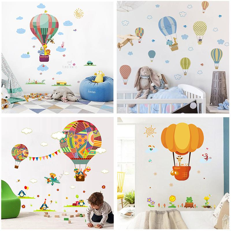 Cartoon Animals Hot Air Balloon Mur Autocollants voiture pour les chambres d'enfants Home Décor Pvc Stickers muraux Diy Art mural Posters