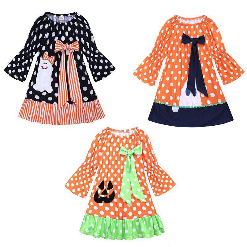 Девушки Хэллоуин Печатный Платье 3 Дизайн Flare Рукавом Тыквы Ghost Dot Печатный Платье Дети Дизайнер Девушки Наряды Галстук-Бабочку Платье 9M-6T