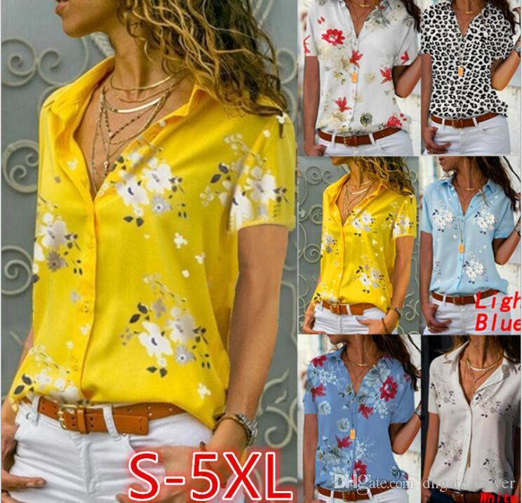 Kadınlar Gömlekler Sonbahar Casual Şifon Bluz Kadın Üst Camisa Feminina kısa Kol Bayanlar Bluz Femme Gömlek yazdır
