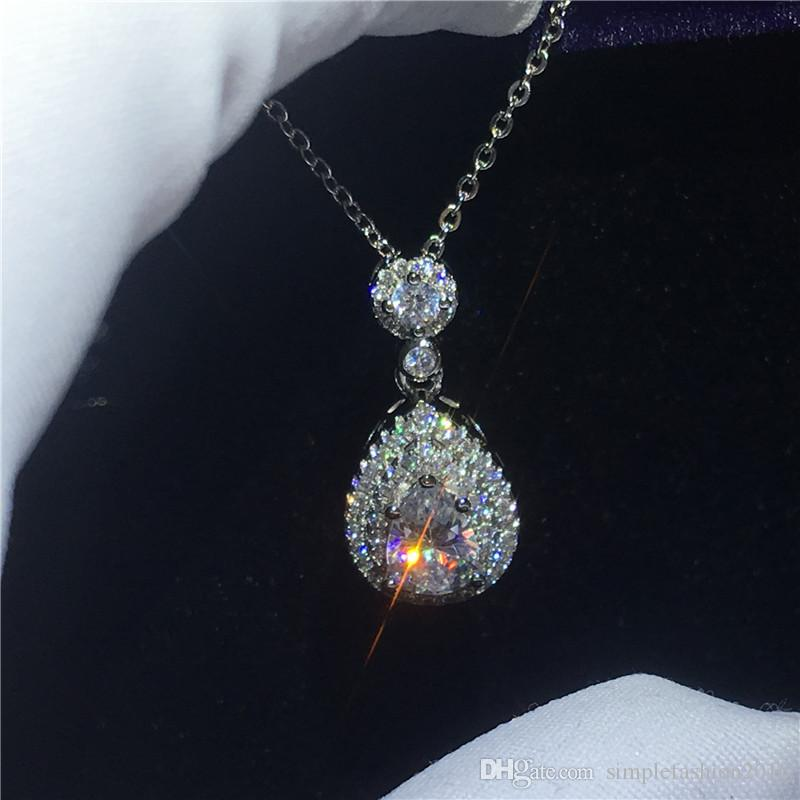 Handmade Female pendant With necklace 925 Sterling silver pear cut 5A zircon Cz Engagement wedding Pendants for women Gift