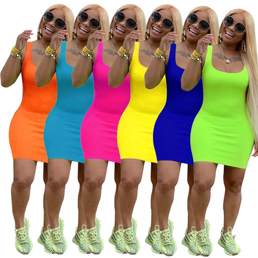 Women summer slip dress casual mini skirt solid color one-piece dress candy color fashion skirts pullover skirt yellow blue sexy dress 618