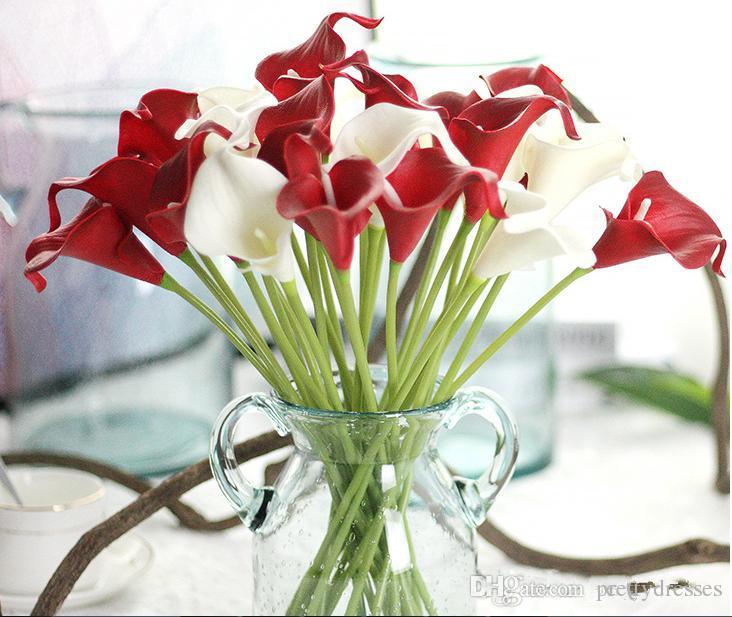 Wholesale 13 Colors Available Calla Lily Flowers PU DIY Bridal Bouquet Home Party Festival Decoration Artificial 34cm Long Home Decoration