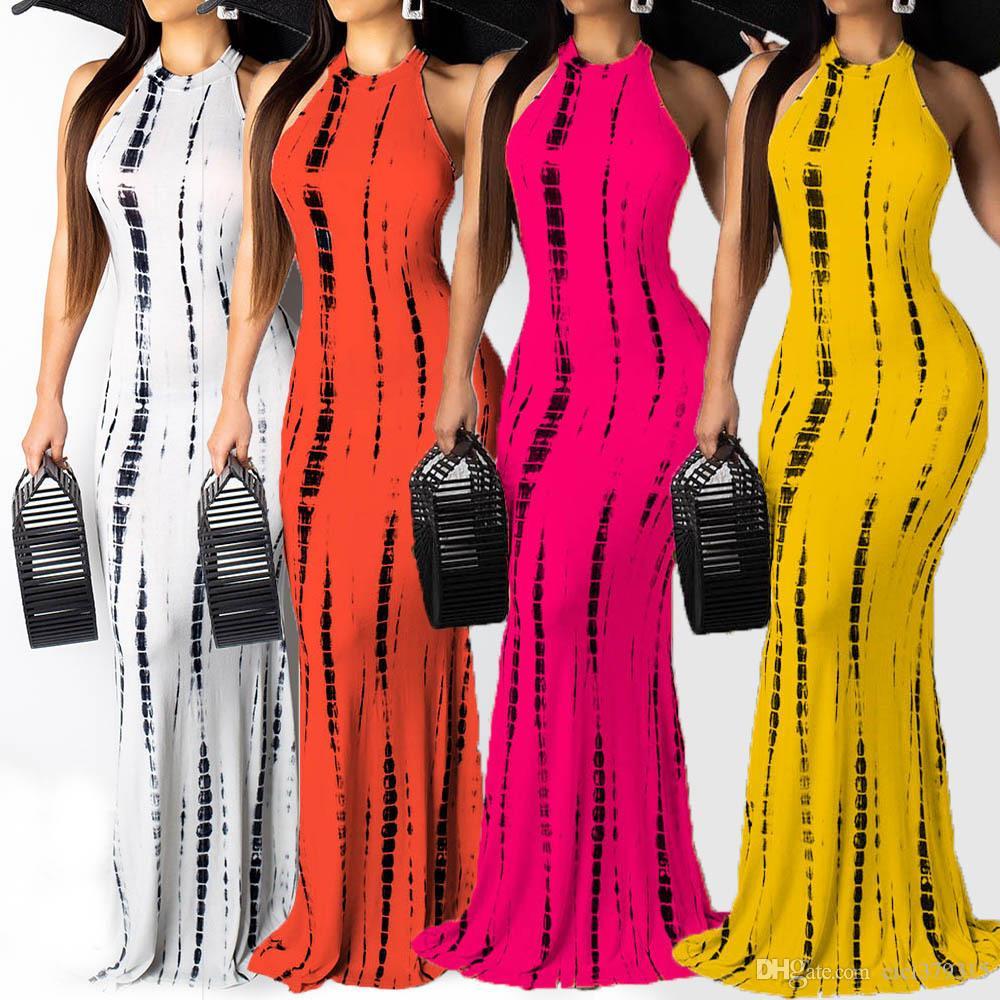 Vestido largo estampado Maix para mujer Bodycon Casual sin mangas bohemio O-cuello Slinky Fashion Party Summer Dress Vestidos