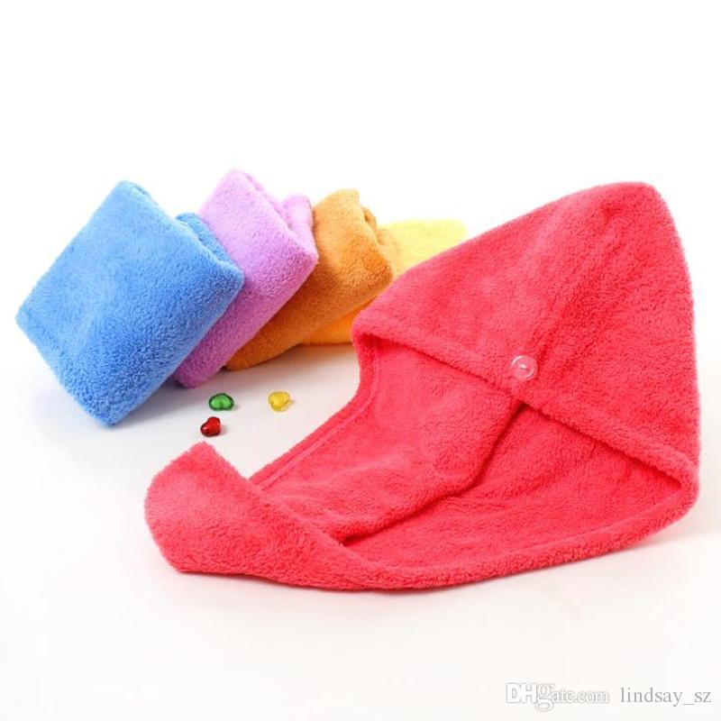 Duschhauben Für Magie Quick Dry Hair Mikrofaser Handtuch Trocknen Turban Wrap Hut Caps Spa Badekappen Schnelles Verschiffen
