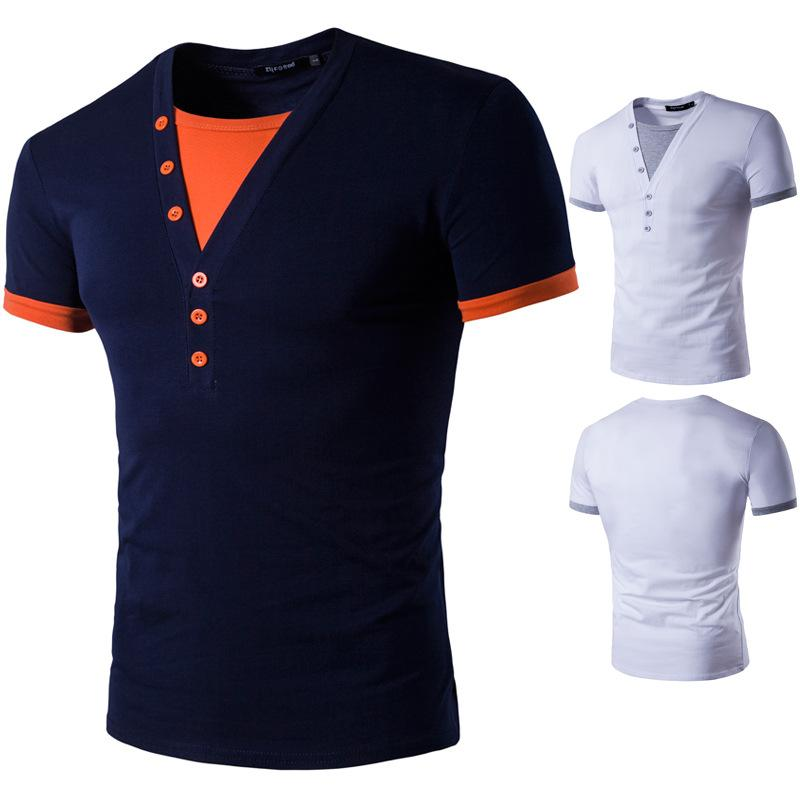 Spring and summer new man, cotton V collar fake two pieces of casual short sleeve bottom shirt