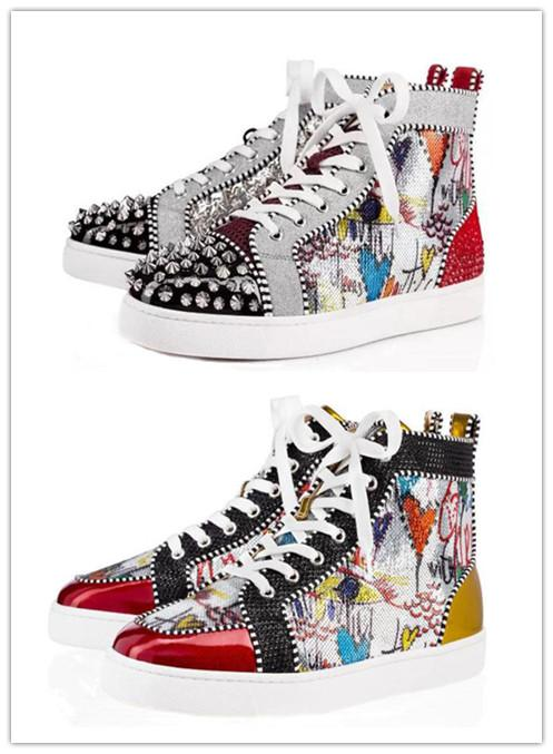 Hot femmes hommes chaussures de créateurs Designer baskets montantes argent No Limit RARE goujons strass graffiti marque chaussure z1010