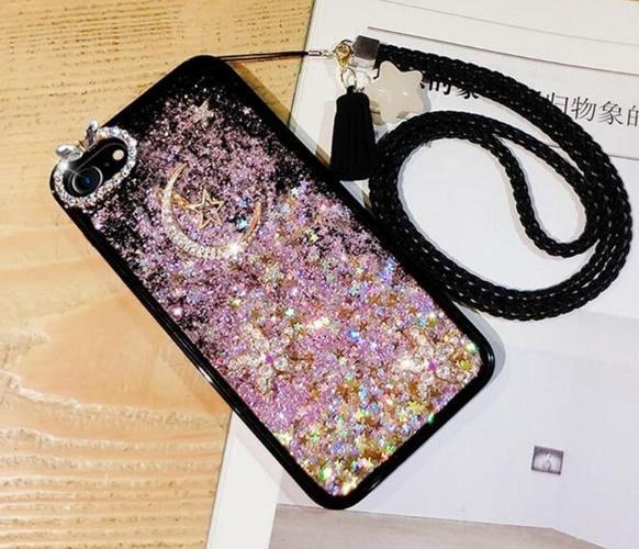 iPhone X 8 7 artı 6 6s için artı Asma Halatlı Lüks Dinamik Sıvı Glitter Yıldız Quicksand Vaka Elmas Yapay elmas Bling Kılıfları