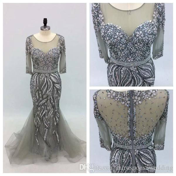 Super Luxurious 3/4 Sleeve Scoop Rhinestones Major Silver Prom Dress Mermaid Dresses for Women Party Illusion Back Beautiful Evening Dress