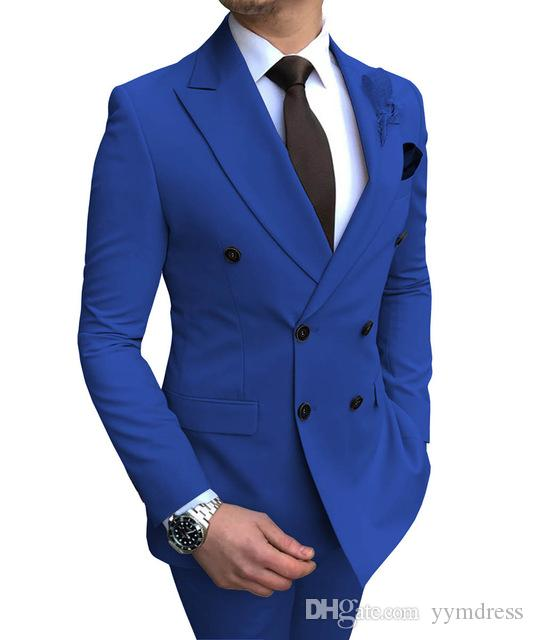 2020 New Groom Outfit Beige Men's Suit 2 Pieces Double-breasted Notch Lapel Flat Slim Fit Casual Tuxedos For Wedding(Blazer+Pants)