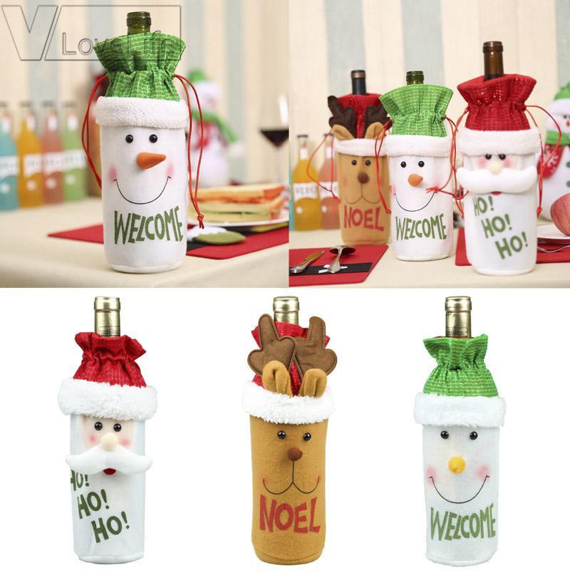 1pcs Santa Claus Red Wine Bottle Cover Bags Cute Flannelette Christmas Gift Holders Dinner Table Decoration Clothes