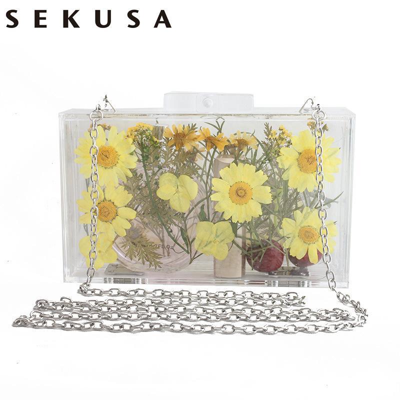 mulheres SEKUSA Flor embreagem de plástico transparente bolsas caixa caso ombro vestido de verão sacos de noite