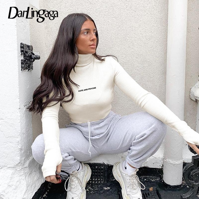Lettre Darlingaga Casual broderie à col roulé à manches longues femmes Bodysuit Body Bodys nervuré Automne Hiver Basic Slim moulante Y200401