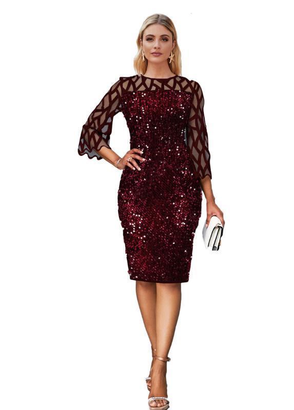 Vestito alla moda Paillettes scava fuori girocollo Slim Vestito aderente di nuovo stile del vestito delle donne delle donne della molla del progettista
