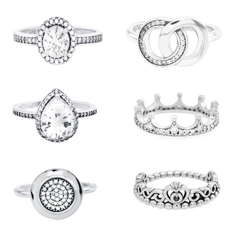 100% 925 Sterling Silver 12 Styles Fashion Cubic Zirconia Princess Tiara Crown Pan Rings for Women Engagement Jewelry