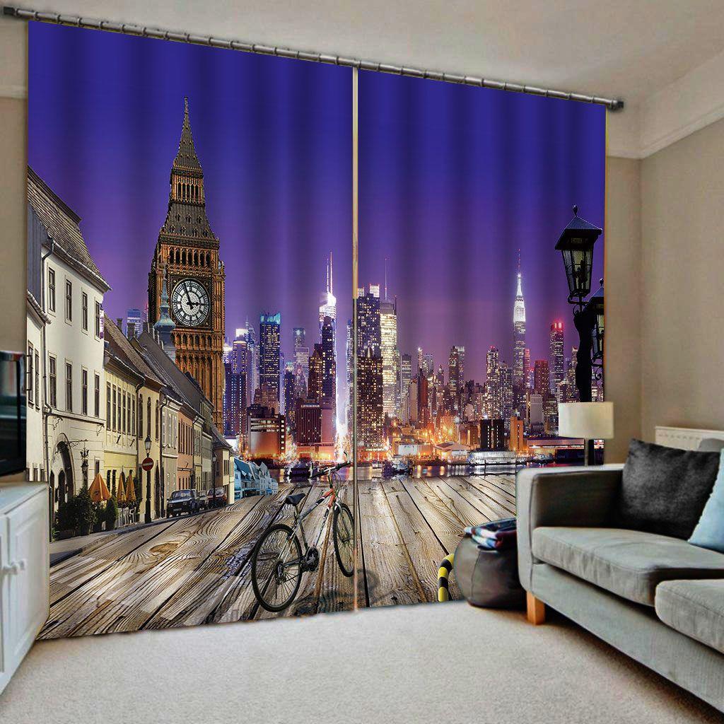 azul edifício noite cortinas grossas sombras à prova de som à prova de vento cortina Blackout cortina