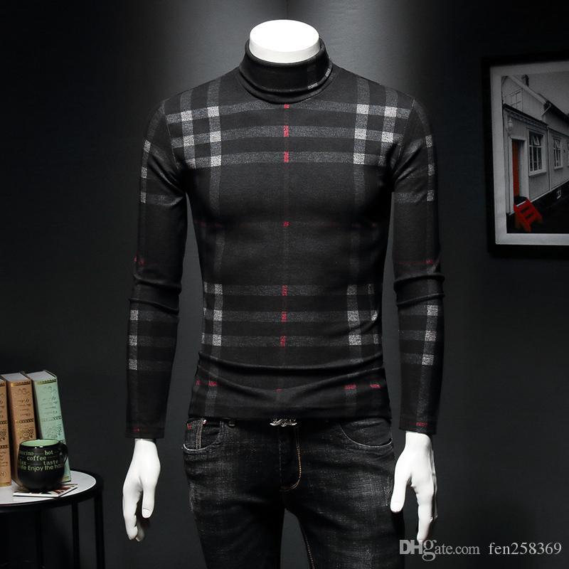 Camicia da uomo ad alta camicia da uomo 2019 Plus Velluto T-shirt a maniche lunghe in velluto Plaid Slim caldo caldo inverno maglione stretto