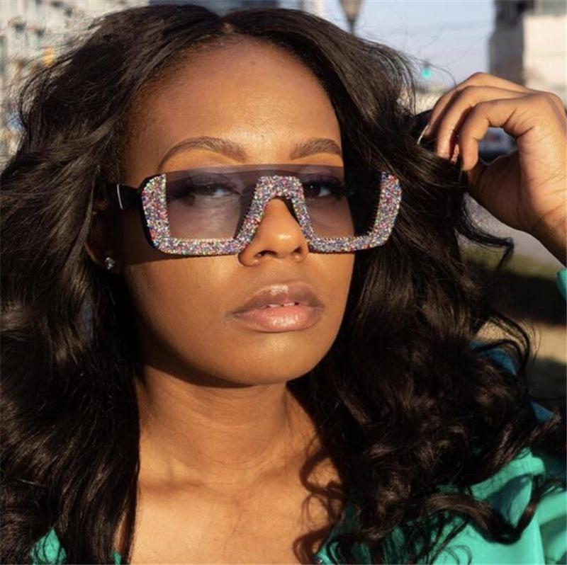 Elmas Yarı çerçevesiz kare Güneş Kadınlar Yapay elmas Retro Gradyan Güneş Gözlükleri Vintage Boy Erkekler Yarım Çerçeve Serin Gözlükler