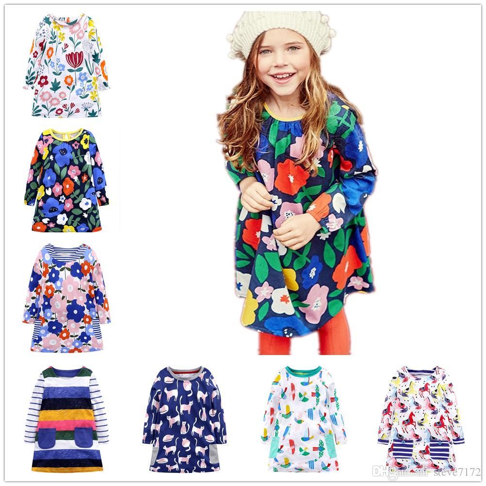 Floral Bebés Meninas vestido de algodão Crianças One Piece Vestidos de manga longa na altura do joelho da menina blusa Roupas Jumpers