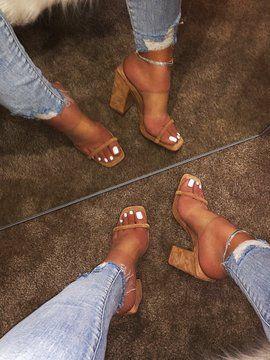 2019 estate nuovi sandali scarpe da donna tacco alto pantofole tacchi sandali 9044
