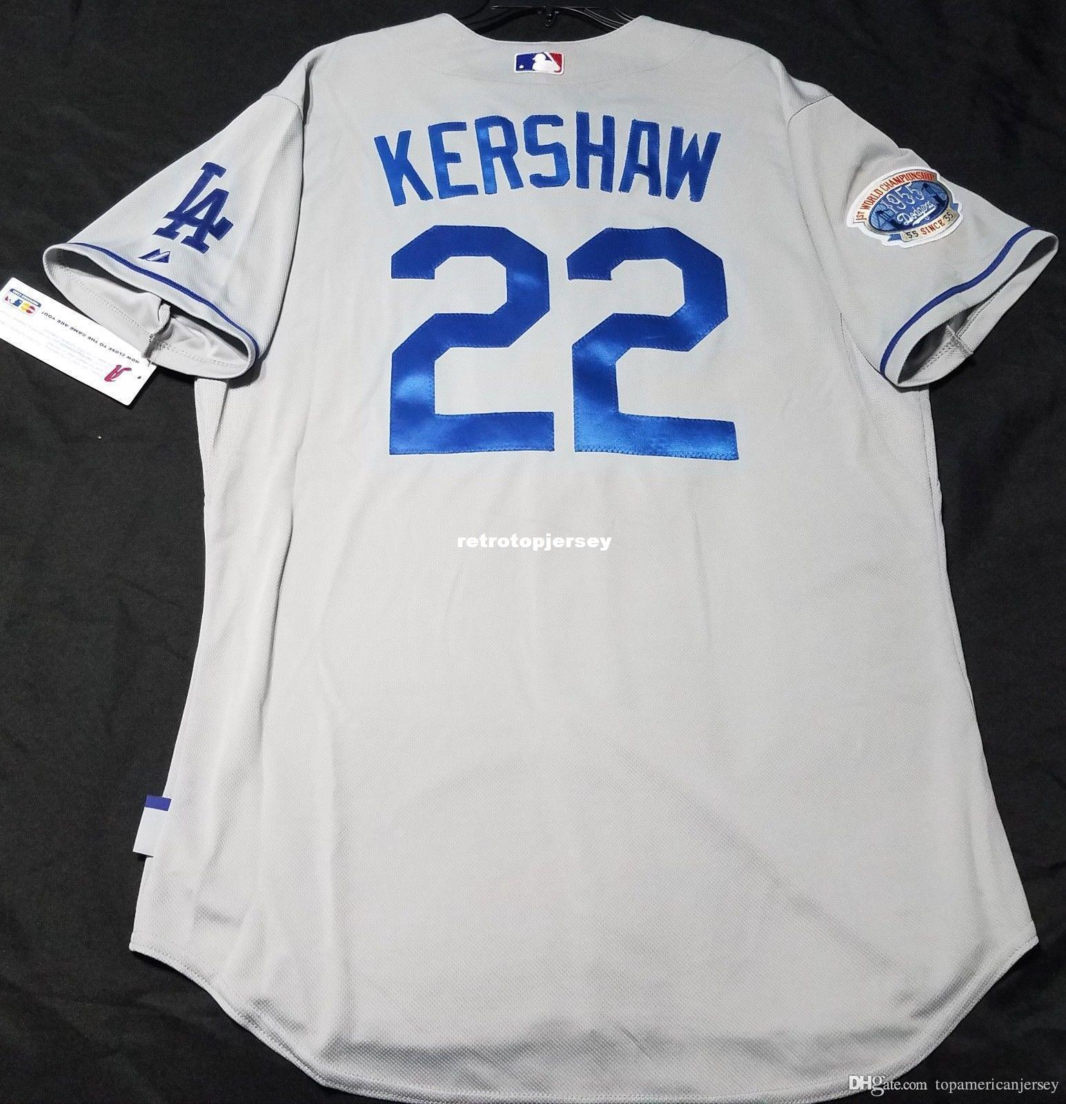 Cheap MAJESTIC LOS ANGELES # 22 Clayton Kershaw freddo Jersey Base Grey Mens cucito all'ingrosso grande e grosso formato XS-6XL pullover di baseball