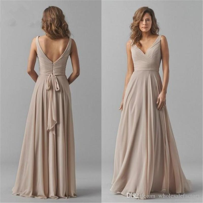 V-Neck Chiffon Long Bridesmaid Dresses 2020 New Ruched Wedding Guest Party Sleeveless Maid Of Honor Plus Size Dresses