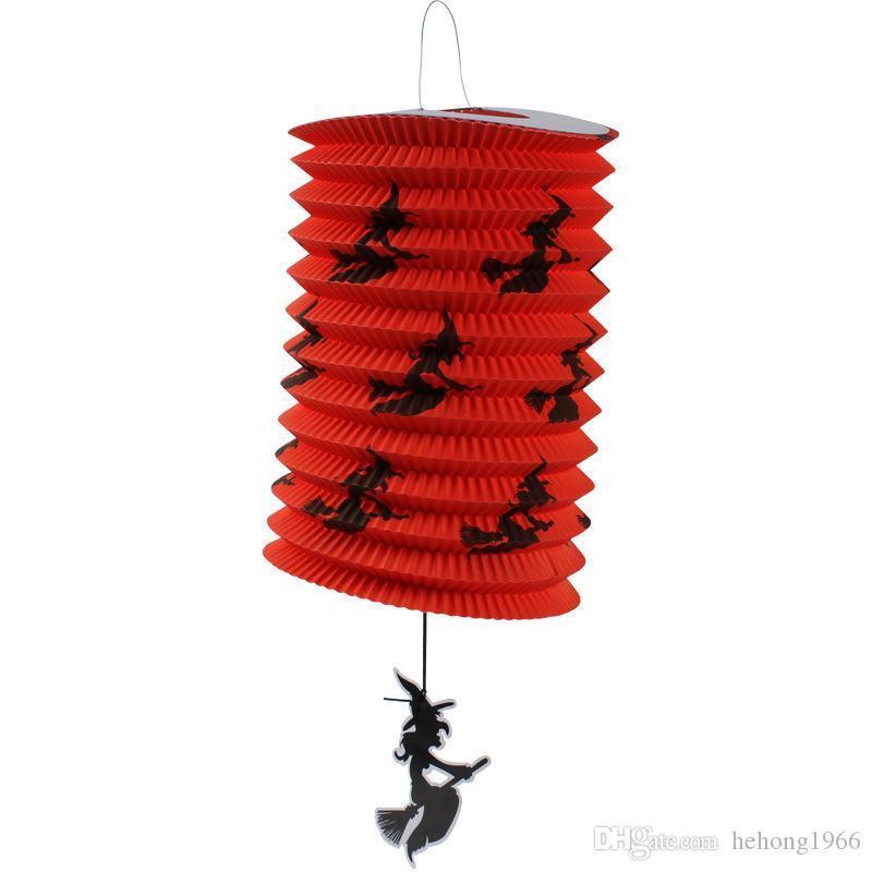 Hot Sale partido dobrável lanternas de papel Pendure Pumpkin Bat Crânio Lamp Crianças Hand Held Lanterna Fit Decoração de Halloween 1 2ms E1